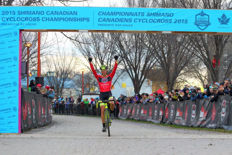 Raphaël Gagné (Red Truck – Garneau p/b Easton Cyclocross Team) wins the 2015 Shimano Canadian Cyclocross Championships © Randy Lewis/lewisimages