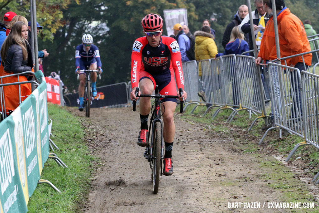 Tobin Ortenblad made the top 10 at Azencross, seen here at the U23 race at the Valkenburg World Cup. © Bart Hazen