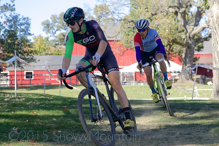 Michael Dutczak (Crete, IL) and David Reyes (Chicago, IL) lead the Men's 1/2/3 field past the Randall Oaks Barnyard Zoo. © SnowyMountain Photography