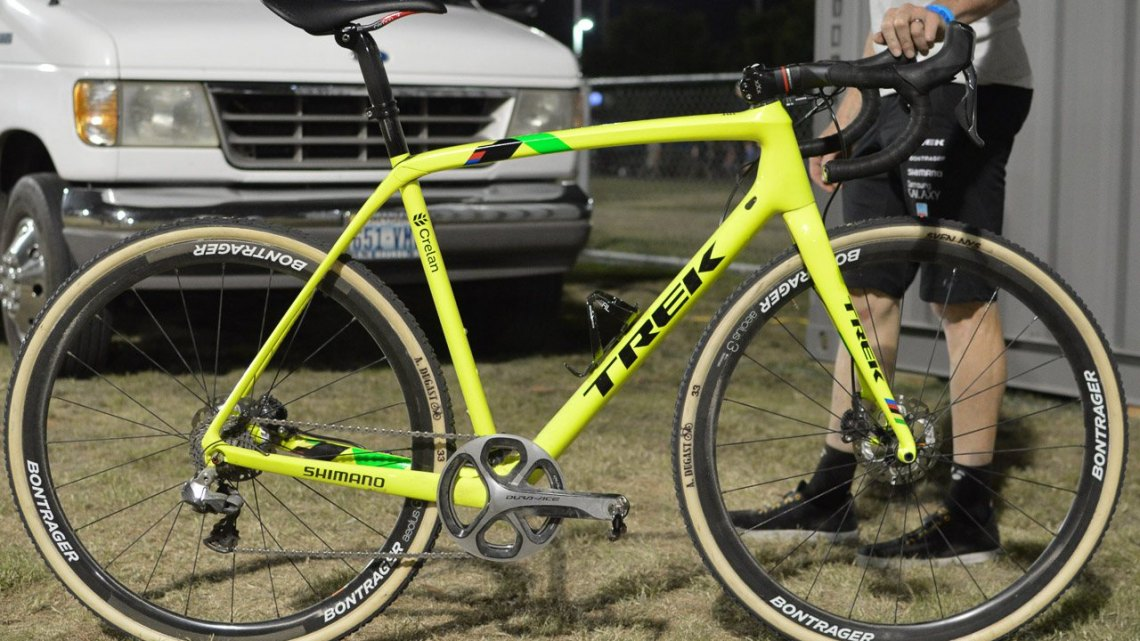 Sven Nys' Trek Boone in day-glo. Note the single large appearing chainring with a matching chainguard. We chased down and stopped the mechanic for pics after the race so were not able to count the teeth. The left shifter is a matching R785 Di2 stock with the buttons-just no front mech. I was told tire pressure: 1.5 bar