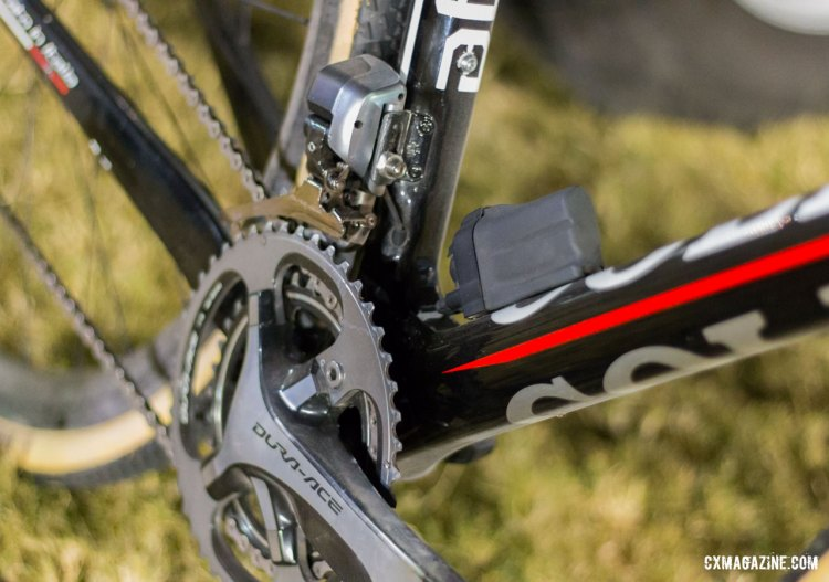 No chain catcher on Lechner's race machine. Di2 cables neatly appear just where they're needed for the Dura-Ace 9070 front derailleur and external battery. © Cyclocross Magazine
