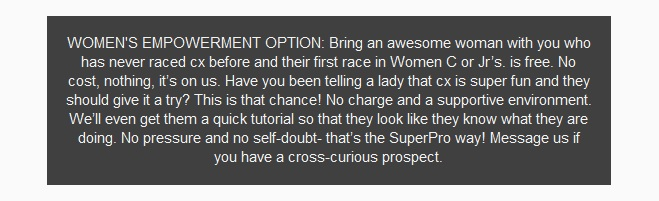 Superpro Racing makes first-time racing free for women at the 2015 Vallejo cyclocross race.