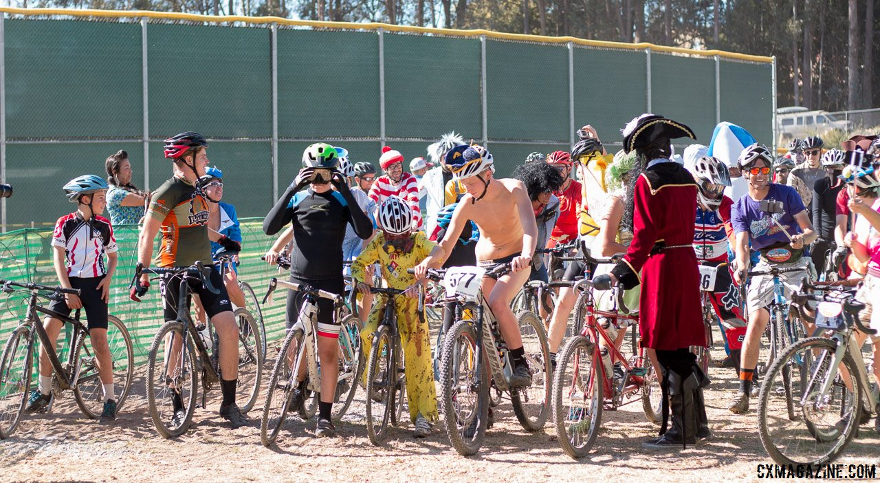 The Surf City Cyclocross All Hallow's Race is one of the nation's oldest costume cross events. There were plenty of costumes on display in 2015 at Harbor High. © Cyclocross Magazine