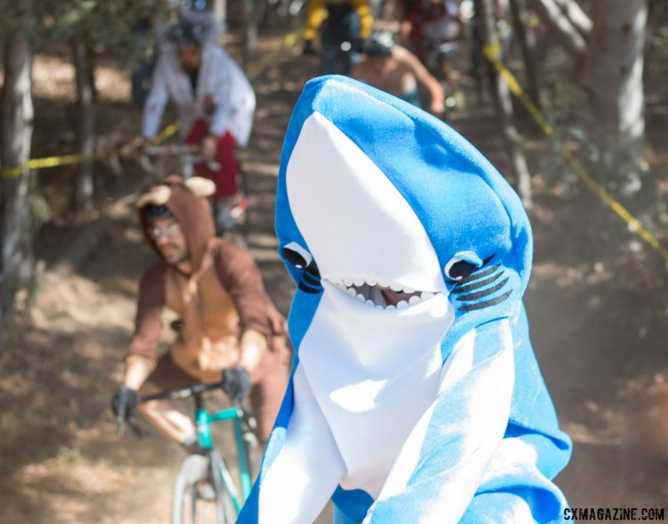 Even without Katy Perry, Left Shark is still out of line in cyclocross, but nobody cares. Surf City Cyclocross Costume Cross 2015. Harbor High. © Cyclocross Magazine