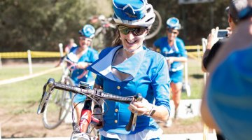The Pan Am Mile High Club captured attention with one last flight and won a pie. Surf City Cyclocross All Hallow's Costume Cross 2015. Harbor High. © Cyclocross Magazine