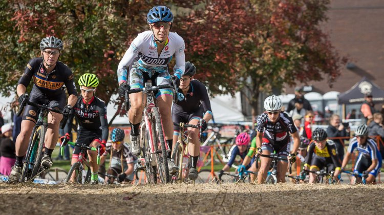 Alexandra Burton (Portland Bicycle Studio) gets the holeshot. © Matthew Lasala