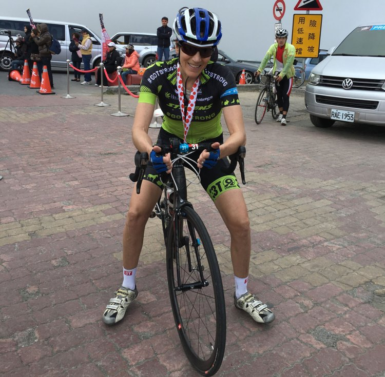 10,750 feet and a whole lot of suffering later, Vardaros finished the Taiwan KOM Challenge. Photo courtesy of Christine Vardaros