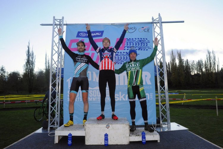 The Elite Men's Podium on day two of the Subaru Cyclo Cup. © Geoffry Crofoot