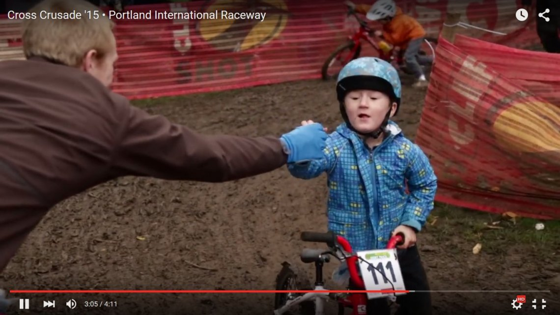 Handups for all ages at Portland's Cross Crusade cyclocross series race at PIR.