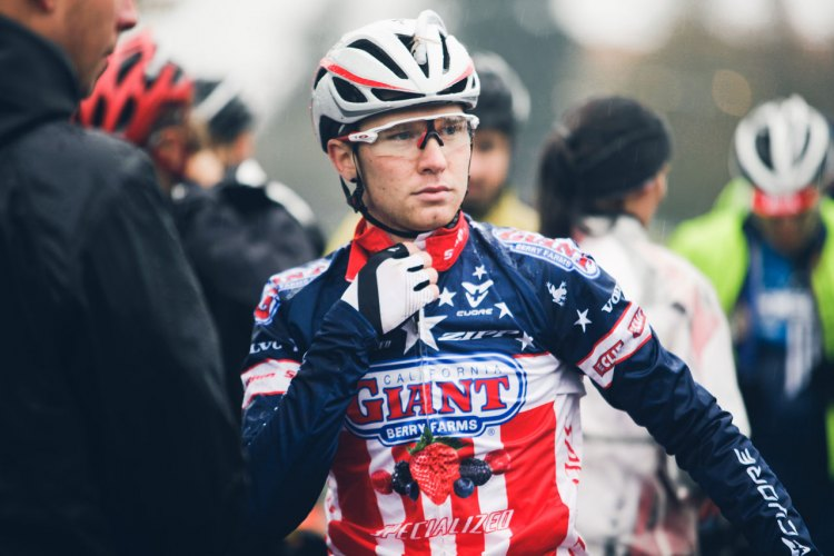 Logan Owen stays warm before the start of the Subaru Cyclo Cup. © Derek Blagg