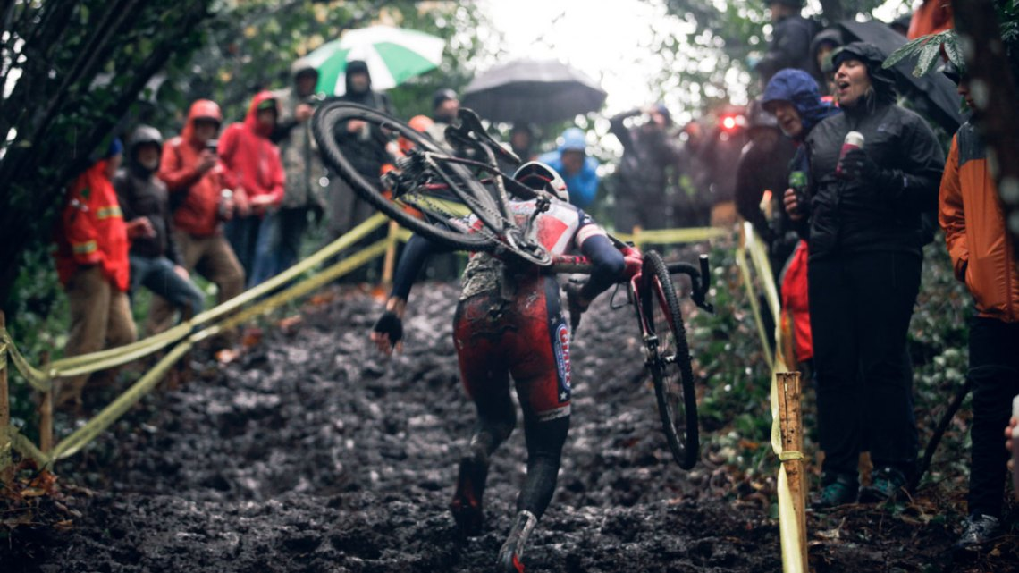 Logan Owen up the muddy run-up. © Derek Blagg