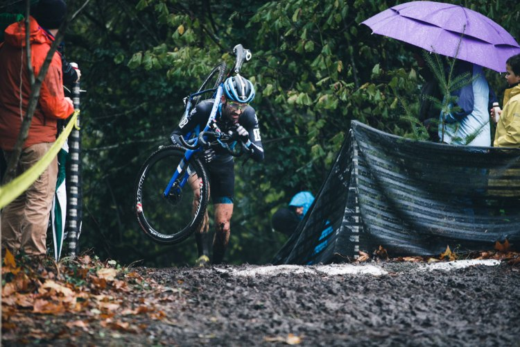 File Photo: Shown here at the Subaru Cyclo-Cup, Jamey Driscoll put on a mud riding clinic to win day two of the Resolution Cross Cup with a huge gap. © Derek Blagg