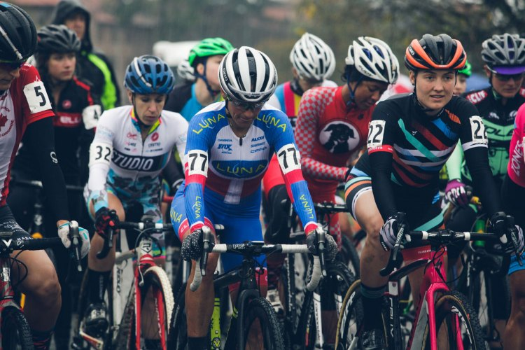 The Elite Women at the start line of day one of the Subaru Cyclo Cup. © Derek Blagg