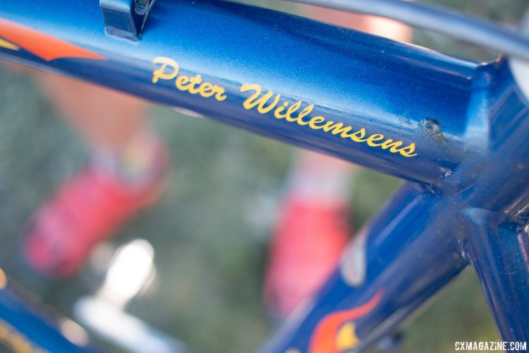 The painted Peter Willemsens rider decal gives away the pro bike providence of this Merckx Titane. © Cyclocross Magazine