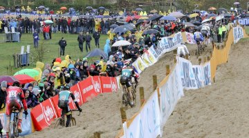 On lap one, the field was already stretched out thoroughout the course. 2015 Koksijde World Cup Men. © B. Hazen / Cyclocross Magazine