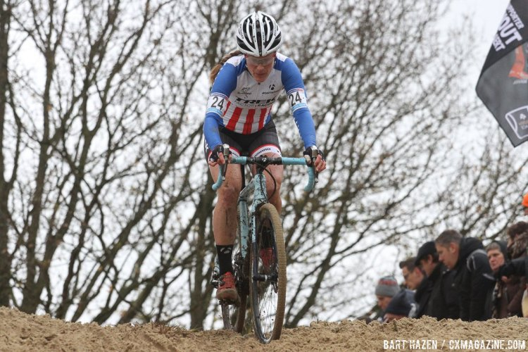 Compton is returning to form, and finished in third. 2015 Koksijde World Cup Women. © B. Hazen / Cyclocross Magazine