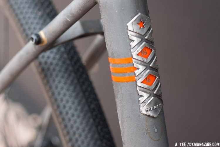 Marin Bikes is celebrating its 30th birthday, and has a slick seat tube badge to commemorate their pearl anniversary. © Cyclocross Magazine
