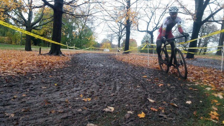 Brian Matter (KS-Energy-MOSH) navigates a tricky corner in the mud at the Halloween Cross SuperCup race. Photo by Paul Warloski