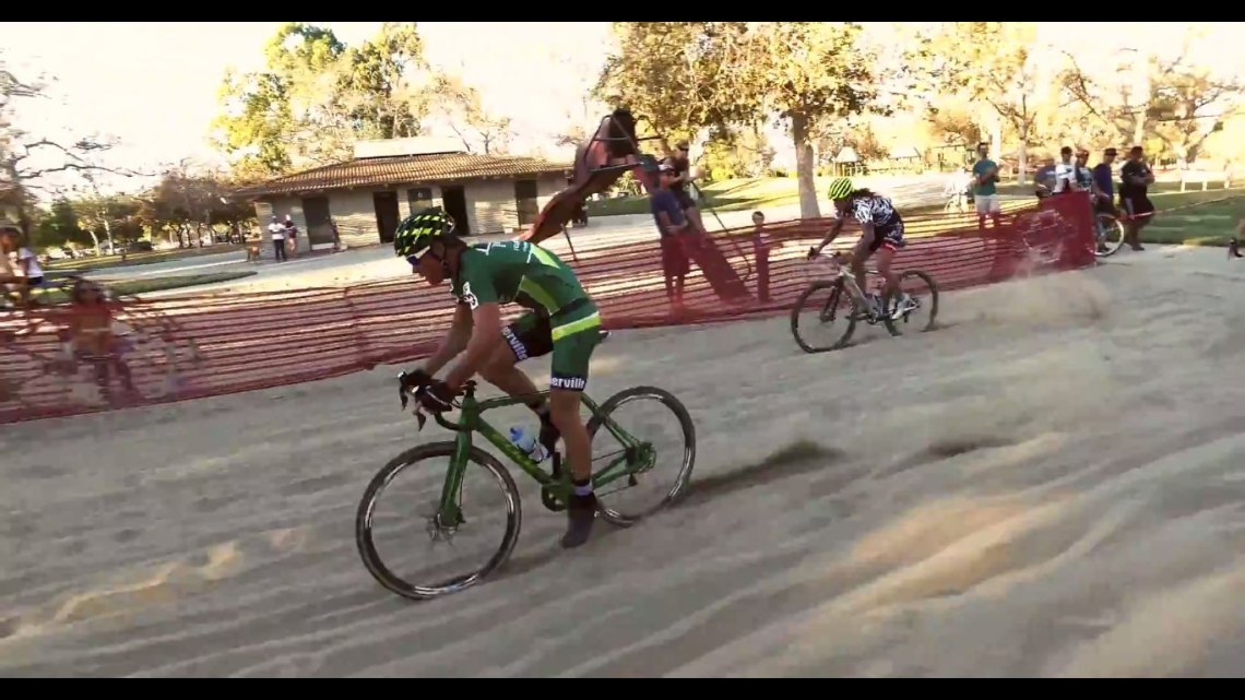 2015 CXLA cyclocross race day 2 (CXLB) Jonathan Page leads Anthony Clark (photo: Jenkins Imagine screenshot)