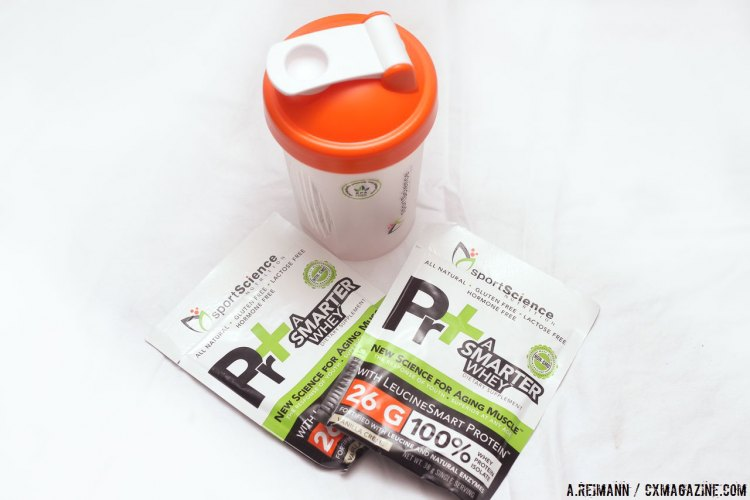 Individual serving packs of Pr+ A Smarter Whey. © Andrew Reimann / Cyclocross Magazine