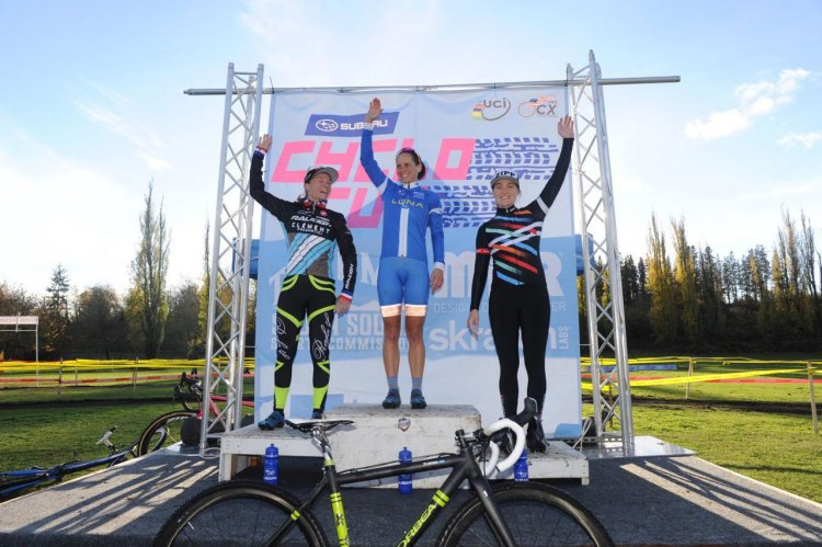 The Elite Women's podium on day two of the Subaru Cyclo Cup. © Geoffry Crofoot