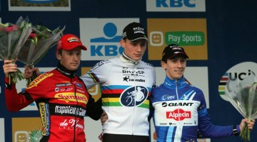 The Elite Men's podium at Zolder (l-r) Kevin Pauwels, Mathieu van der Poel and Lars van der Haar. © Bart Hazen