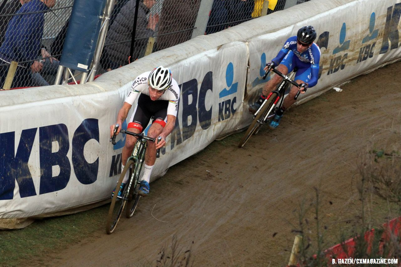 World Champion Mathieu van der Poel and Lars van der Haar take it right to the edge at Zolder. © Bart Hazen