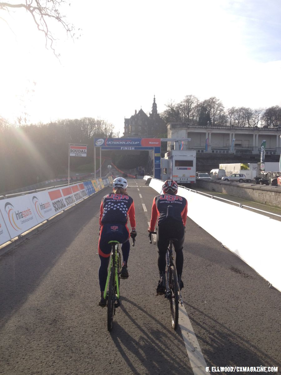 Drew Dillman and Gage Hecht on the start straight at Namur World Cup. © Grant Ellwood