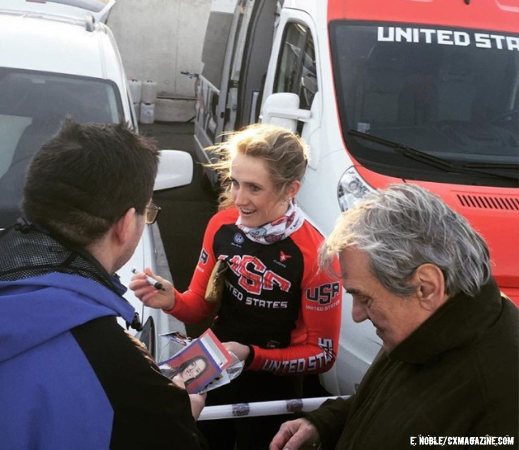 Signing rider cards for fans is one of the fun perks of being a European-based rider. © Ellen Noble