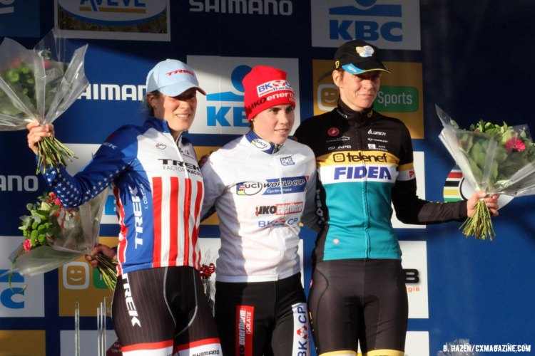 The Women's Elite podium (l-r) Katie Compton, Sanne Cant and Ellen van Loy.