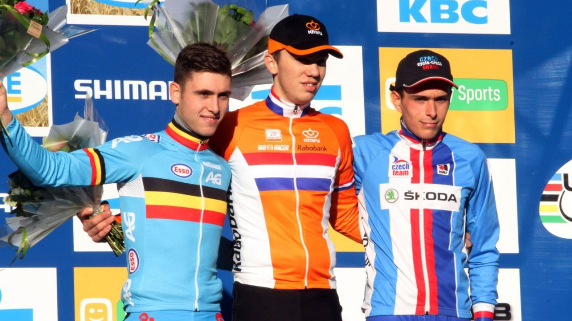 The Men's U23 podium from today's World Cup Zolder (l-r) Joris Nieuwenhuis, Daan Hoeyberghs and Adam Toupalik. © Bart Hazen