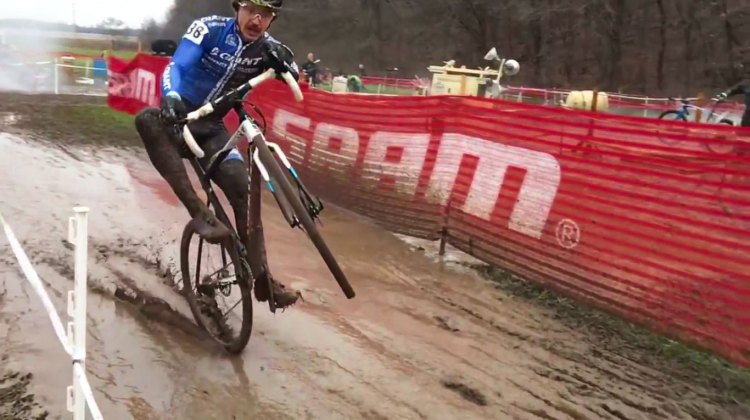 Adam Craig wheelies at Jingle Cross 2015