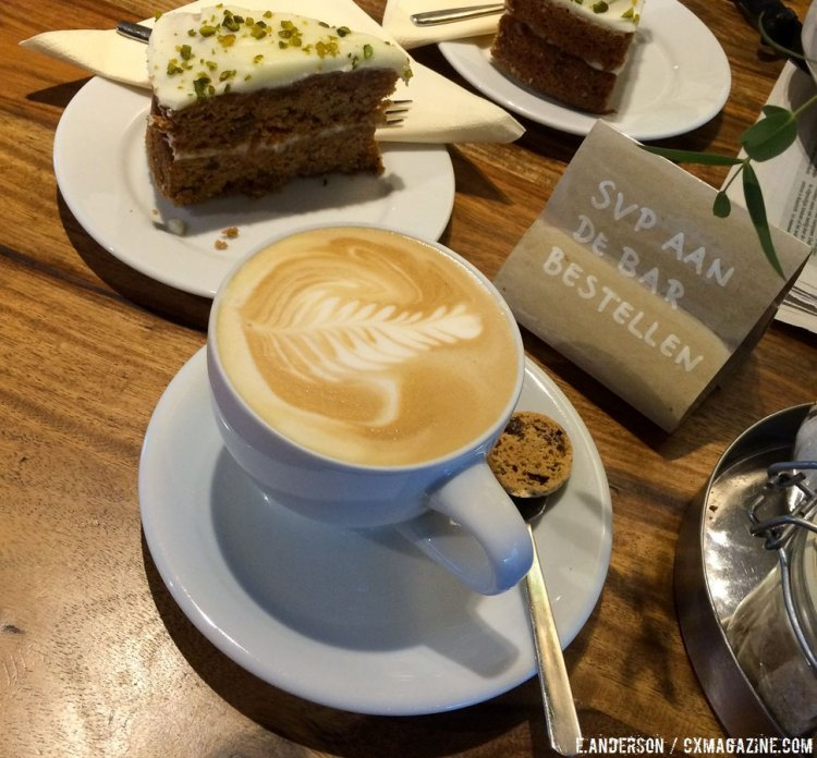 Lattes and carrot cake at Coffee Mundo, a favorite post-ride stop in Sittard. 2015 USAC Cyclocross Development Camp. © Elle Anderson