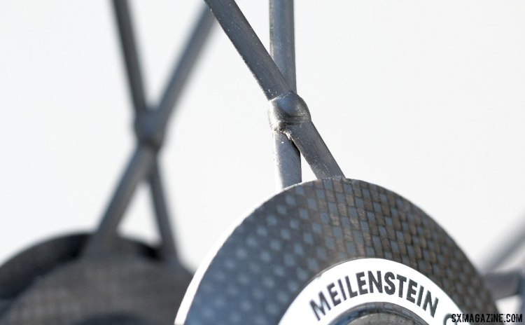 No truing here. Carbon spokes for the upper echelon of light weight and high performance on the Lightweight Meilenstein Obermayer wheelset. © Cyclocross Magazine