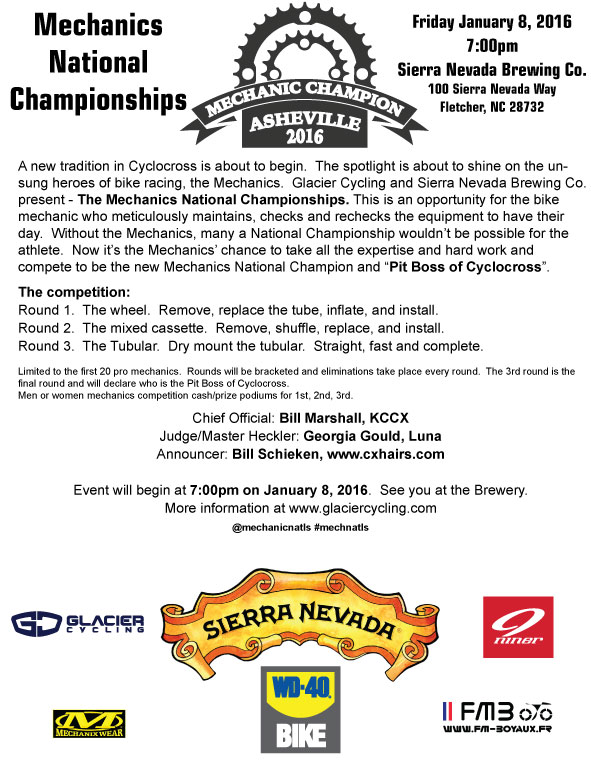 This season's National Championships will feature a unique event, the mechanics National Championship, hosted at Sierra Nevada Brewing in nearby Fletcher, NC.