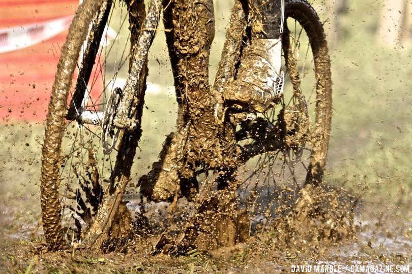Snow and ice turned to mud as the weather warmed up on day 2 of Jungle Cross. © David Marble