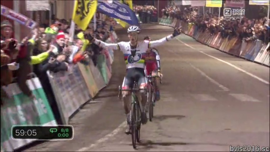 Mathieu van der Poel takes his second win of the weekend at Superprestige Diegem.