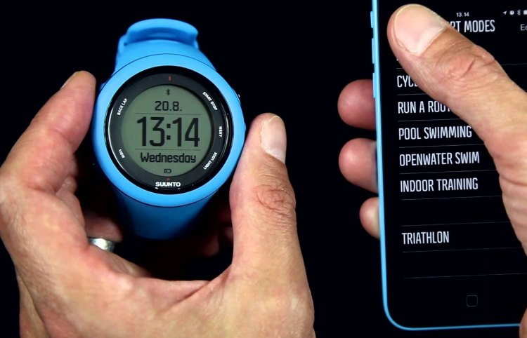 Suunto's Ambit3 Sport watch syncs with the Movescount app to instantly upload and analyze rides to the Suunto community as well as others like Strava.