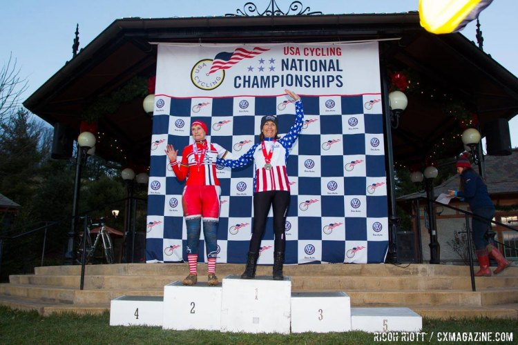 Graciela Val beat Julie Lockhart to take the 75+ Masters Women's National Championship. © R. Ricott / Cyclocross Magazine