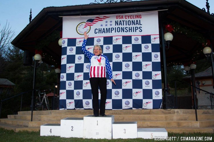Nancy Brown rode to victory in the 70-74 Masters Women's race. © R. Ricott / Cyclocross Magazine