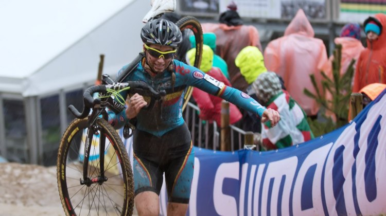 Femke Van den Driessche having a disastrous Women's U23 race at the 2016 Cyclocross World Championships in Zolder. © Danny Zelck / Cyclocross Magazine