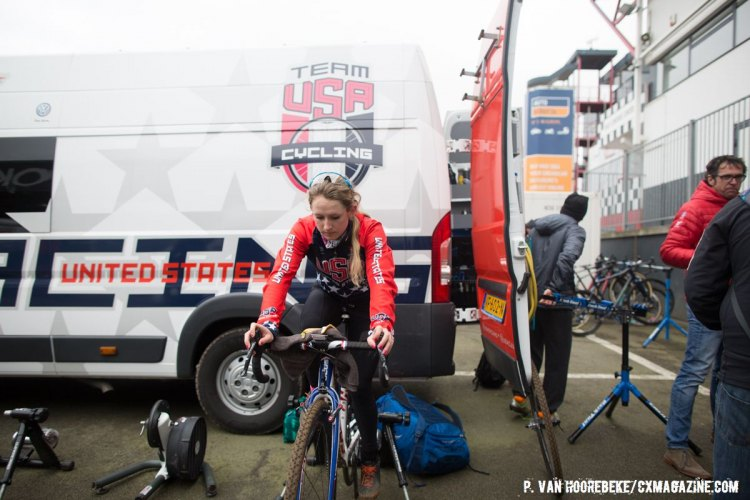 Ellen Noble, focused on the task at hand. Course Inspection. 2016 UCI Cyclocross World Championships. © P. Van Hoorebeke/Cyclocross Magazine