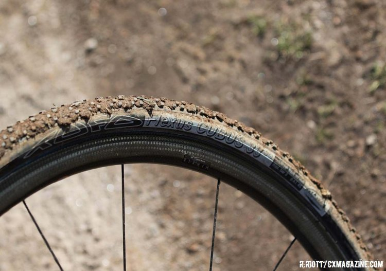 The Orbea rolls on Tufo Flexus Tubus 33SG tubulars, still packed with mud from the course. © Cyclocross Magazine