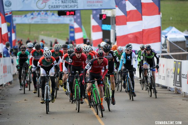 Cameron Beard grabs the holeshot in the 17-18 Juniors National Championship race. © Cyclocross Magazine