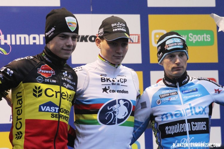 The Elite Men's World Cup Hoogerheide podium (l-r) Wout van Aert, Mathieu can der Poel and Kevin Pauwels. 2016 World Cup Hoogerheide. © Bart Hazen