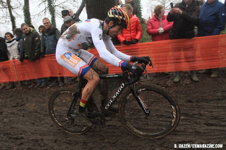 Wout van Aert chased, but the gap to the World Champion only grew. 2016 World Cup Hoogerheide. © Bart Hazen