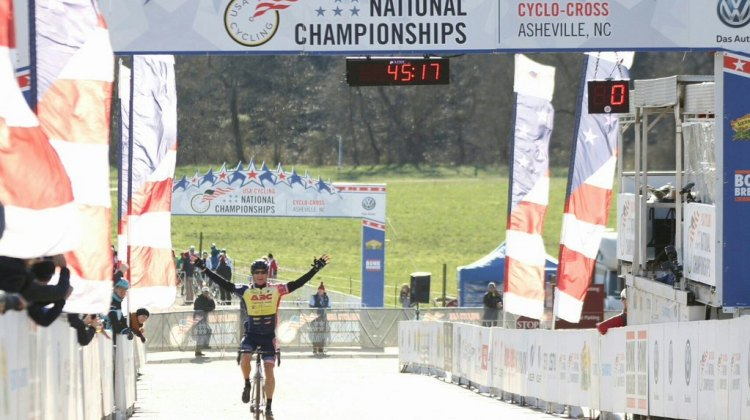 Jay Trojan celebrates the win in the 2016 Men's 55-59 Cyclocross National Championships. © Cyclocross Magazine
