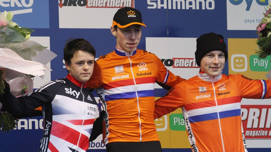 The Junior Men's World Cup Hoogerheide podium (l-r) Thomas Pidcock, Jens Dekker and Thijs Wolsink. 2016 World Cup Hoogerheide. © Bart Hazen