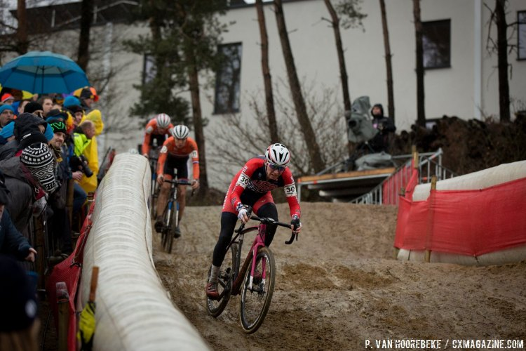 Logan Owen gave chase to finish 13th. © Pieter Van Hoorebeke / Cyclocross Magazine