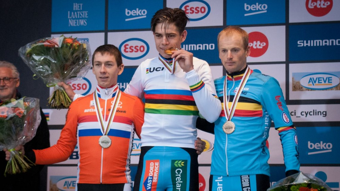 The Elite Men's Podium (l-r) van der Haar, van Aert and Pauwels © Mircea Ghinea / Cyclocross Magazine
